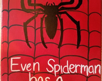 Spiderman Canvas (8x10in) with Quote