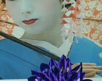 Dark purple satin ribbon flower hair bow
