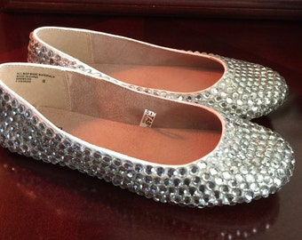 Cinderella adult sz 8 flats - covered in crystals!