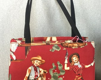 Kitschy cowgirl pinup purse