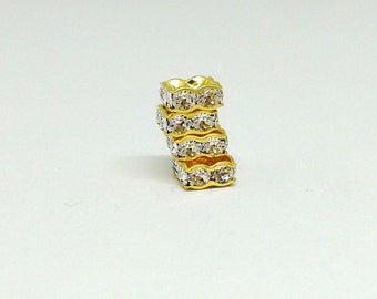 6mm Square Rondelle Bead, Swarovski Spacer Bead, Gold Plated Brass , Crystal Clear, Geometric Bead, Diy Jewelry, Sparkly Beads, BM8138