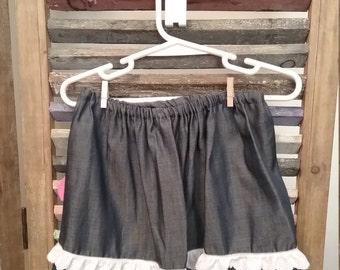 Baby girls Denim skirt, Baby skirt, Baby clothing, Girls denim and lace skirt, Size 18 months skirt,  #37