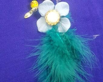 Earegette Blue & Yellow Feather