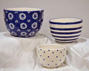 Patterned Blue Bowls Set