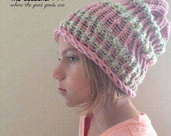 Pink and tan striped slouchy hat for kids. Mom made this one.