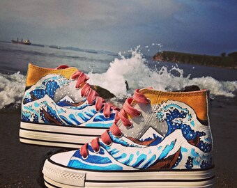 """Hand painted shoes """"The great waves off Kanagawa"""""""