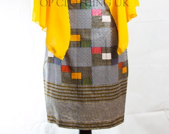 African print dress, short African Print dress, yellow dress, Party African dress, Ankara dress, women Kitenge dress, hand made dress