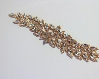 Gold applique trim, Bridal Applique, Gold trim, Rhinestone trim rhinestone applique crystal sash bridal sash headband wedding headpiece