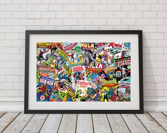 LARGE Vintage Marvel Comics Collage Poster / Marvel Comics / Super Heroes Poster / Gifts for Comic Book Lovers / Hulk, Iron Man, Fantastic 4