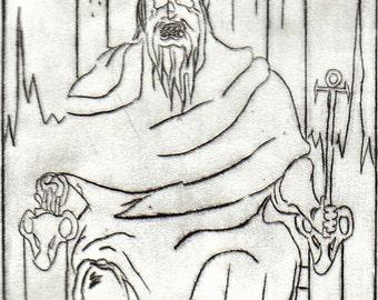 Undead Emperor Tarot (Drypoint Print)