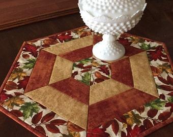 Fall table mat, hexagon, candle mat, table runner