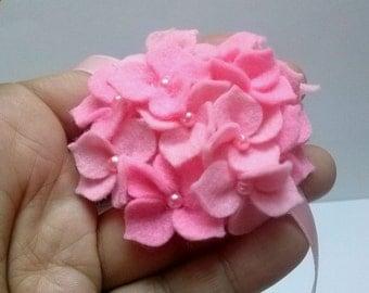 Pink Flower girl headband, Light Pink Flower headband, Pink Hydrangea headband, baby girl headband, newborn Headband, ribbon headband
