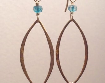 Kyanite and Topaz Gold Filled earrings