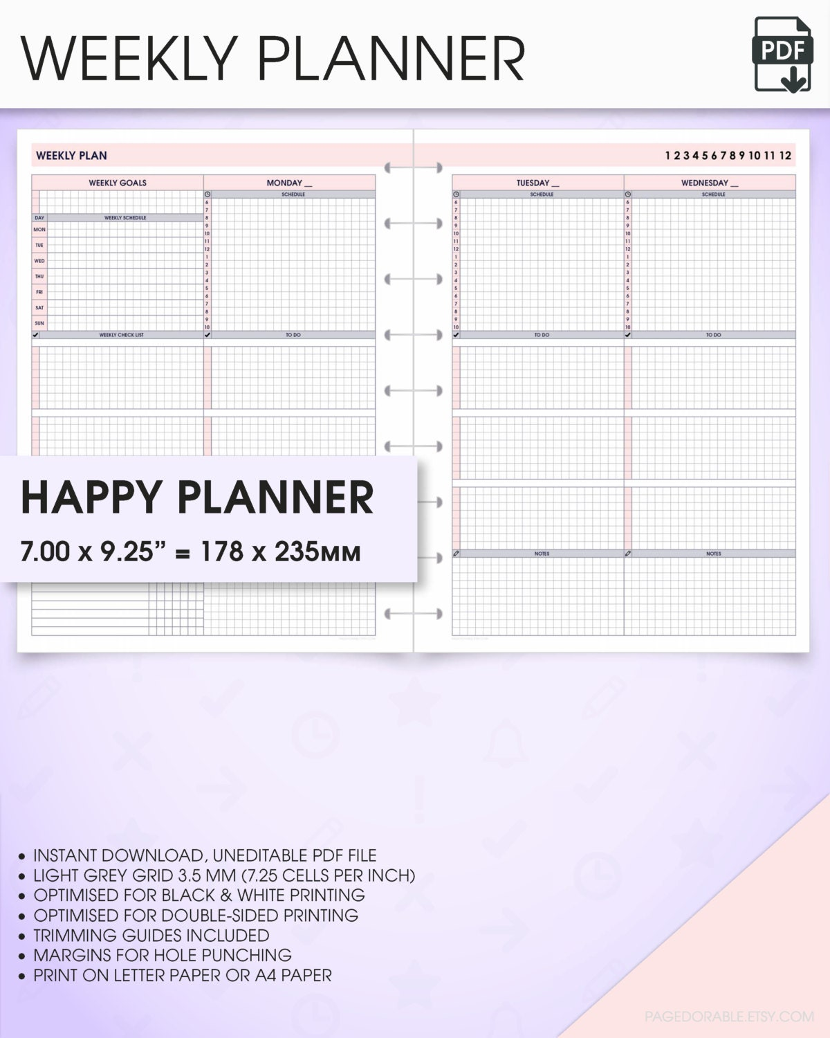 Happy Planner Calendar : Weekly happy planner printable inserts undated wo p v