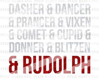 Rudolph SVG, Reindeer Names svg, Holiday SVG, Christmas svg, Santa svg, Elf svg, Cricut svg, Silhouette svg, SVG Cutting Files, Rudolph