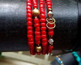 Red and Gold Mix Stretch Bracelet Set