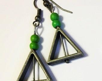 Triangle and Green Stone Beaded Dangle Earrings