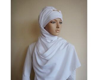 Stylish Turban Hijab, ready to wear hijab, chapel scarf, Scarf Handmade, Wedвing hijab, Pret A Porter Hijab, Headtie Turban Cap, White hijab