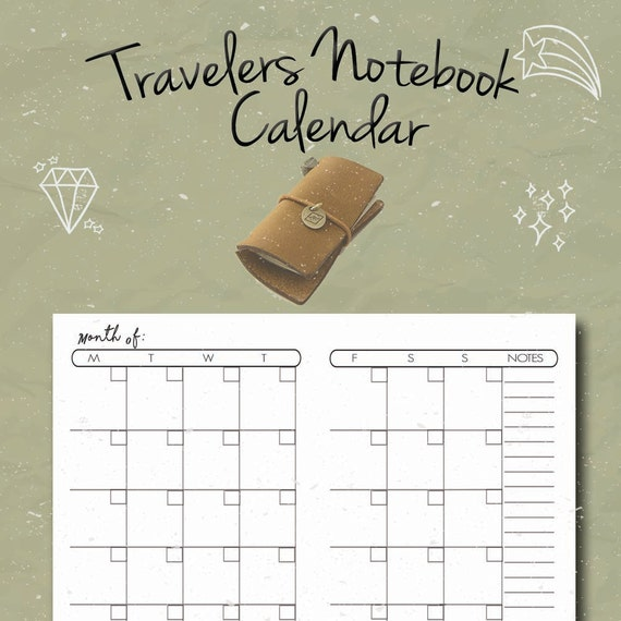 Monthly Calendar Notebook : Travelers notebook insert monthly calendar undated