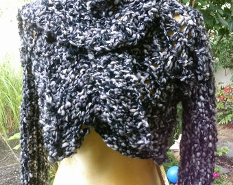 Knit Bolero, size 36-38 (S M), with short scarf, black-silver