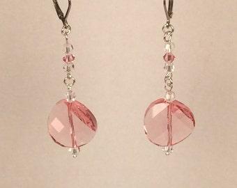Swarovski Twisted Earrings in Light Rose