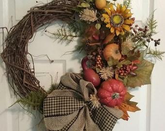 Fall Grapevine Pumpkin Sunflower Wreath