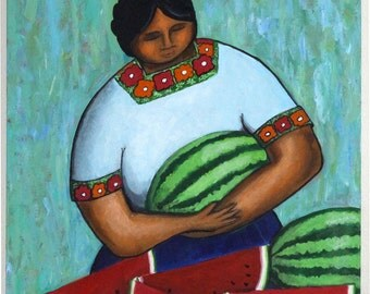 Latin American Woman with Watermelons - Acrylic Painting