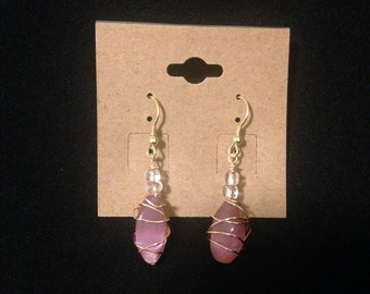 Wire-Wrapped Earrings w/ Clear Beads