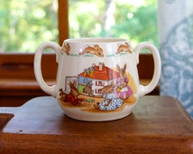 Vintage Royal Doulton BUNNYKINS two handles cup. Child's porcelain cup with bunnies and a doll house. Child's mug by Royal Doulton.
