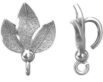 Sterling Silver 14mm Leaf Bail With Loop PK1 PK5