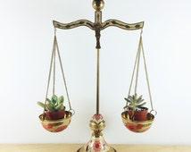 Vintage Brass Hanging Scales. Planter with enameled floral cloisonne design. Hollywood Regency.
