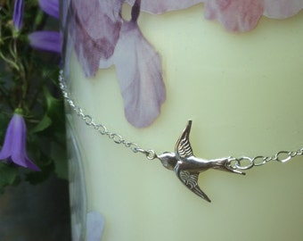 Swallow Bird Necklace, Sterling silver