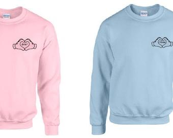 Disney inspirado en mejores amigos de Mickey Mouse suéter azul rosa adulto Unisex