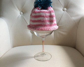 Pink and White Knit Baby Hat