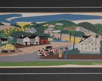 Two Nicholas Takis serigraph silkscreen country scenes--mid-century
