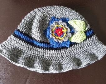 Woolen Hat in Grey  with flower details