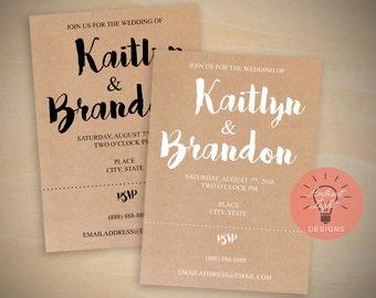 Digital Download Customizable Simple Wedding Invitation | Kraft Paper Theme