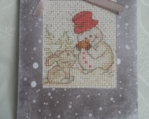 "Card. Greeting card. Card handmade. Greeting card with embroidered cross. New Year. Christmas. 3,94""x5,71"""
