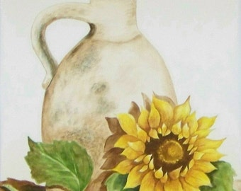 Old Jug and Sunflower, Realistic watercolor painting of an old jug and a sunflower.