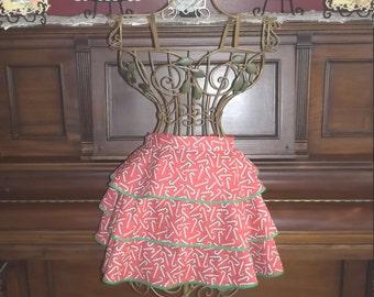 Handmade, ruffled apron