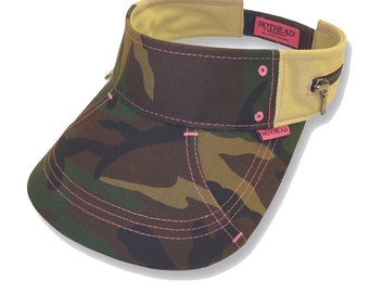 Hothead Womens Mens Wide Brim Custom Sun Visor Hat in Green Camouflage