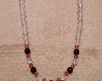 Quartz Onyx Swarovski Crystal Necklace
