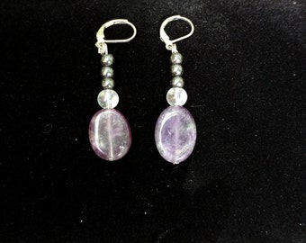 Amethyst Hematite Earrings