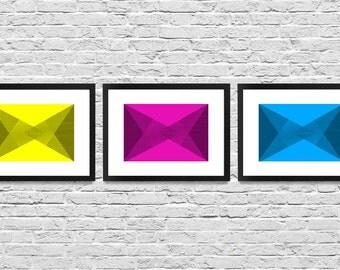 """Framed Abstract CMYK Illustration - Set of 3 12x16"""" frames"""