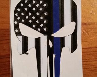 Thin blue line punisher sticker