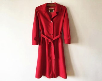 Vintage Red Wool Cashmere Blend Coat Womens Winter Coat Warm Wool Coat Red Women's Winter Coat Wool Coat Size Medium Coat Made In Finland