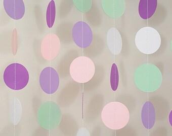 Baby Shower Garland| Baby Sprinkle Garland| Lavender Garland| Mint Garland|Pink Garland|Fuchsia Garland|Circle Garland| Paper Circle Garland