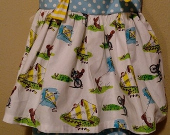Curious George knot dress/top with ruffled capris. sizes 24m-8y