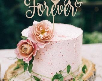 Wedding Cake Topper  Always & Forever Cake Topper   Wood Cake Topper Silver Gold Cake Topper
