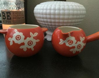 Vintage orange cream and sugar bowls